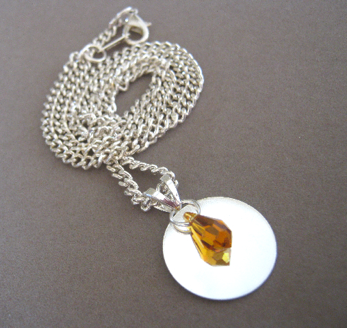 November Swarovski Crystal and Silver Plated Pendant on Handmade Artists' Shop