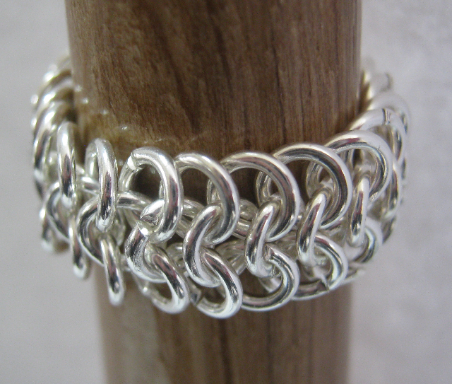 One Ringy Dingy Sterling Silver Plated Chainmaille Ring on Handmade Artists' Shop