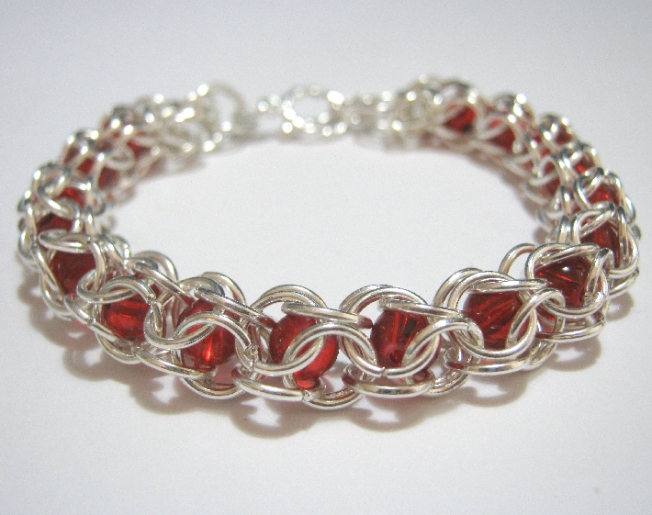 Chainmaille Peek A Boo Red Glass Bead Bracelet on Handmade Artists' Shop