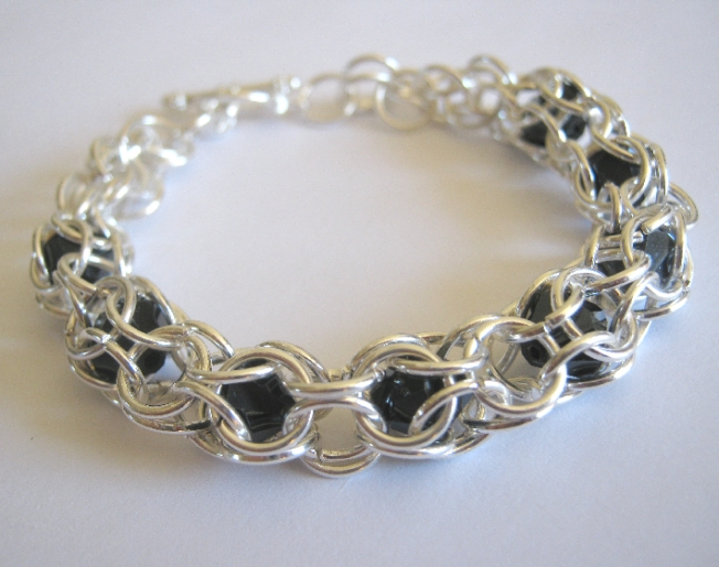 Peek A Boo Bracelet Silver Plate and Glass Bead Chainmaille on Handmade Artists' Shop