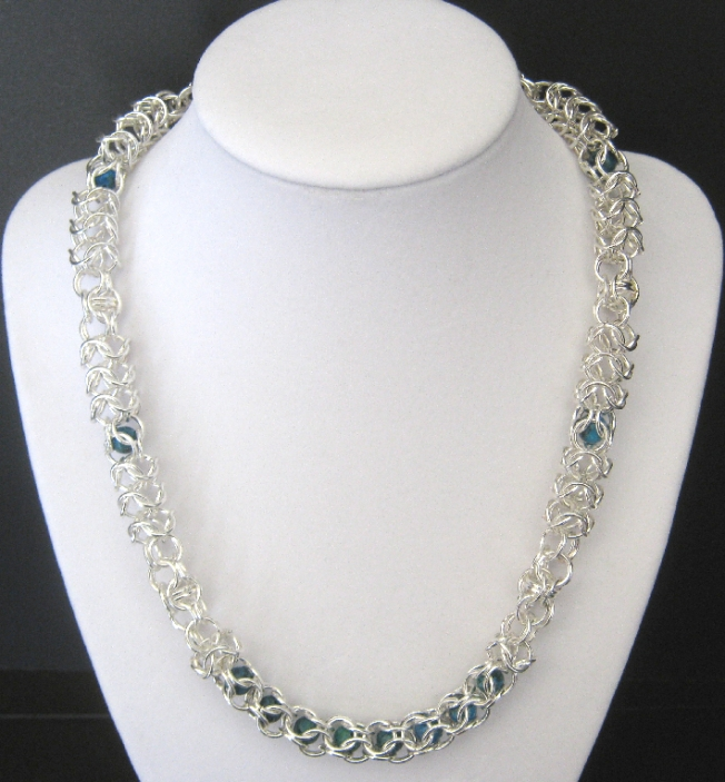 Merry Go Round Chainmaille and Jasper Necklace on Handmade Artists' Shop