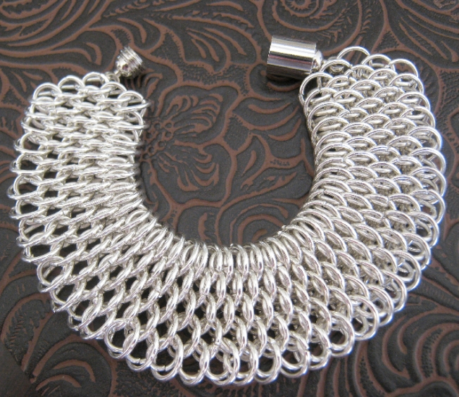 Silver Dragonscale Cuff Chainmaille Bracelet on Handmade Artists' Shop