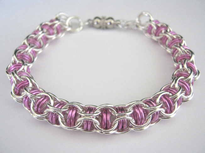 Paramour Bracelet Pink Chainmaille Bangle on Handmade Artists' Shop